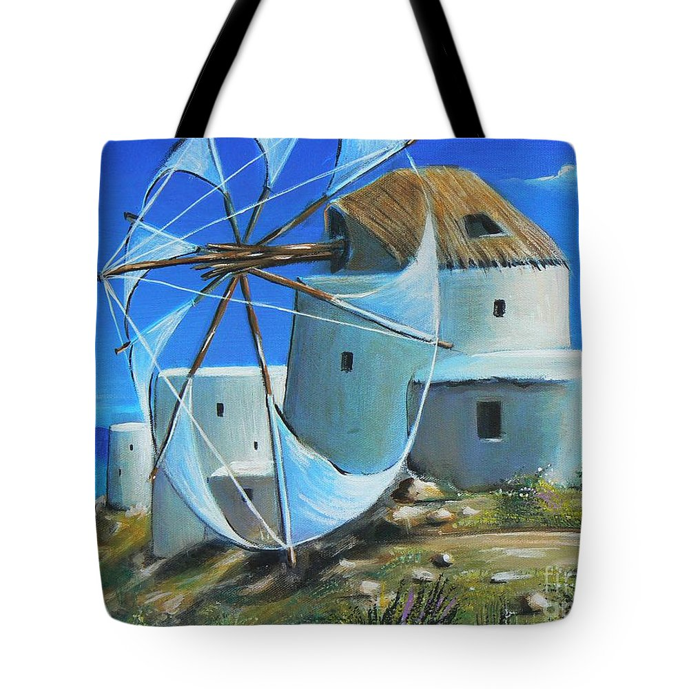 Blue Tote Bag featuring the painting Mill On The Hill by Artist ForYou