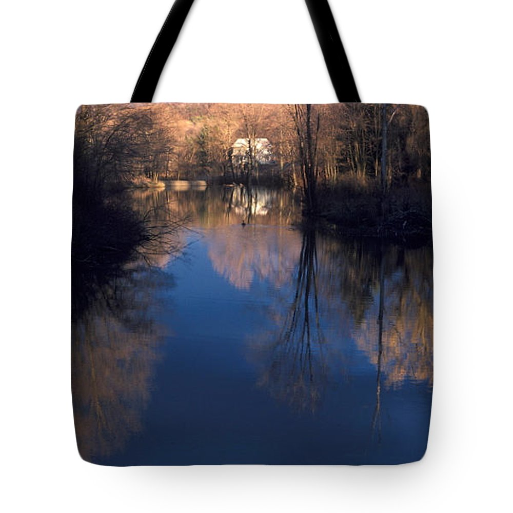 Quiet Water Pond Tote Bag featuring the photograph Mill Pond by Jim Cotton