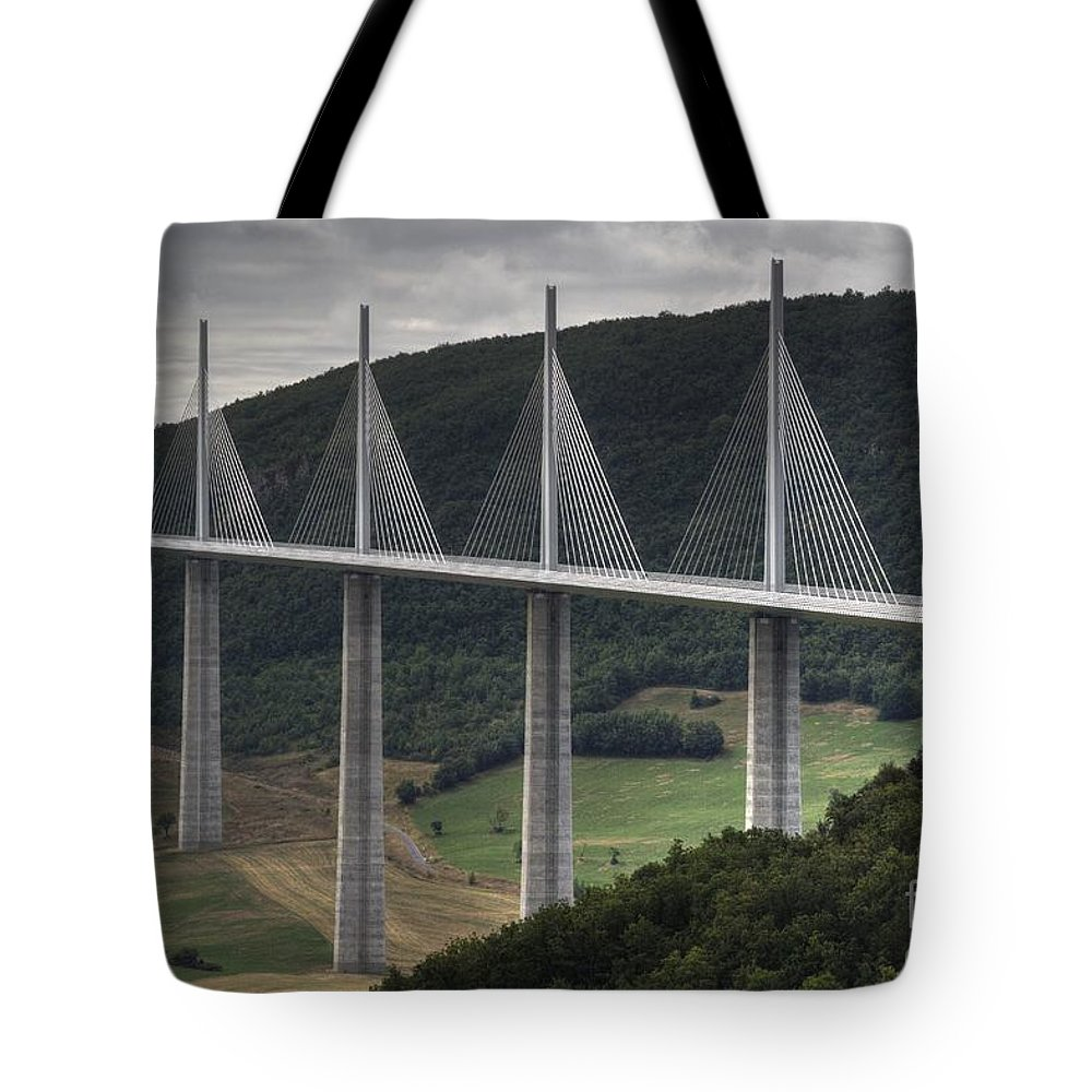 Heiko Tote Bag featuring the photograph Millau Viaduct In France by Heiko Koehrer-Wagner