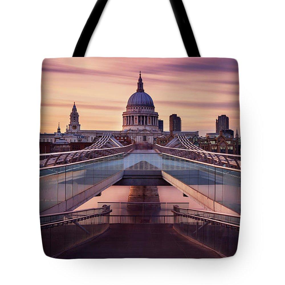 London Millennium Footbridge Tote Bag featuring the photograph Millennium Bridge Leading Towards St by Roland Shainidze Photogaphy