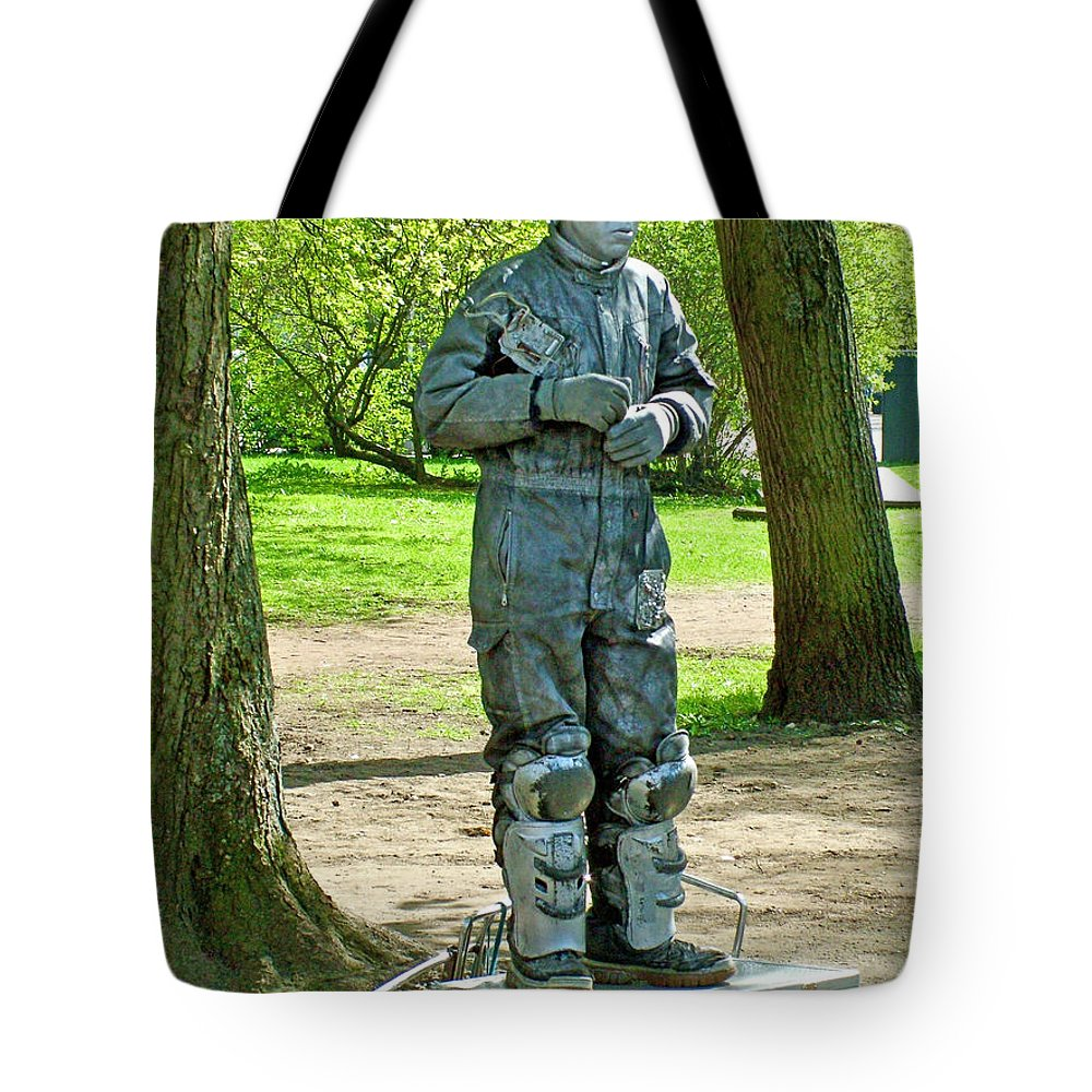 Mime In A Park In Tallinn Tote Bag featuring the photograph Mime In A Park In Tallinn-estonia by Ruth Hager