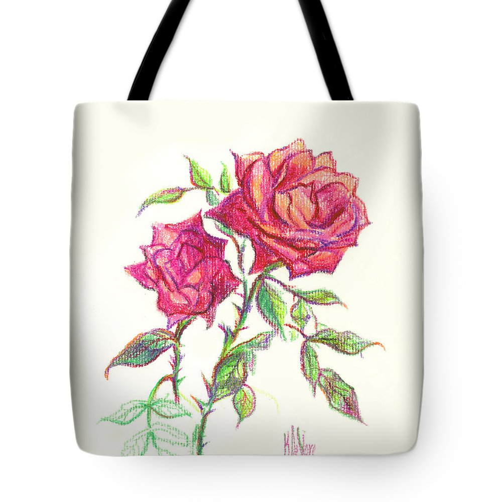 Nature Tote Bag featuring the painting Minature Red Rose by Kip DeVore
