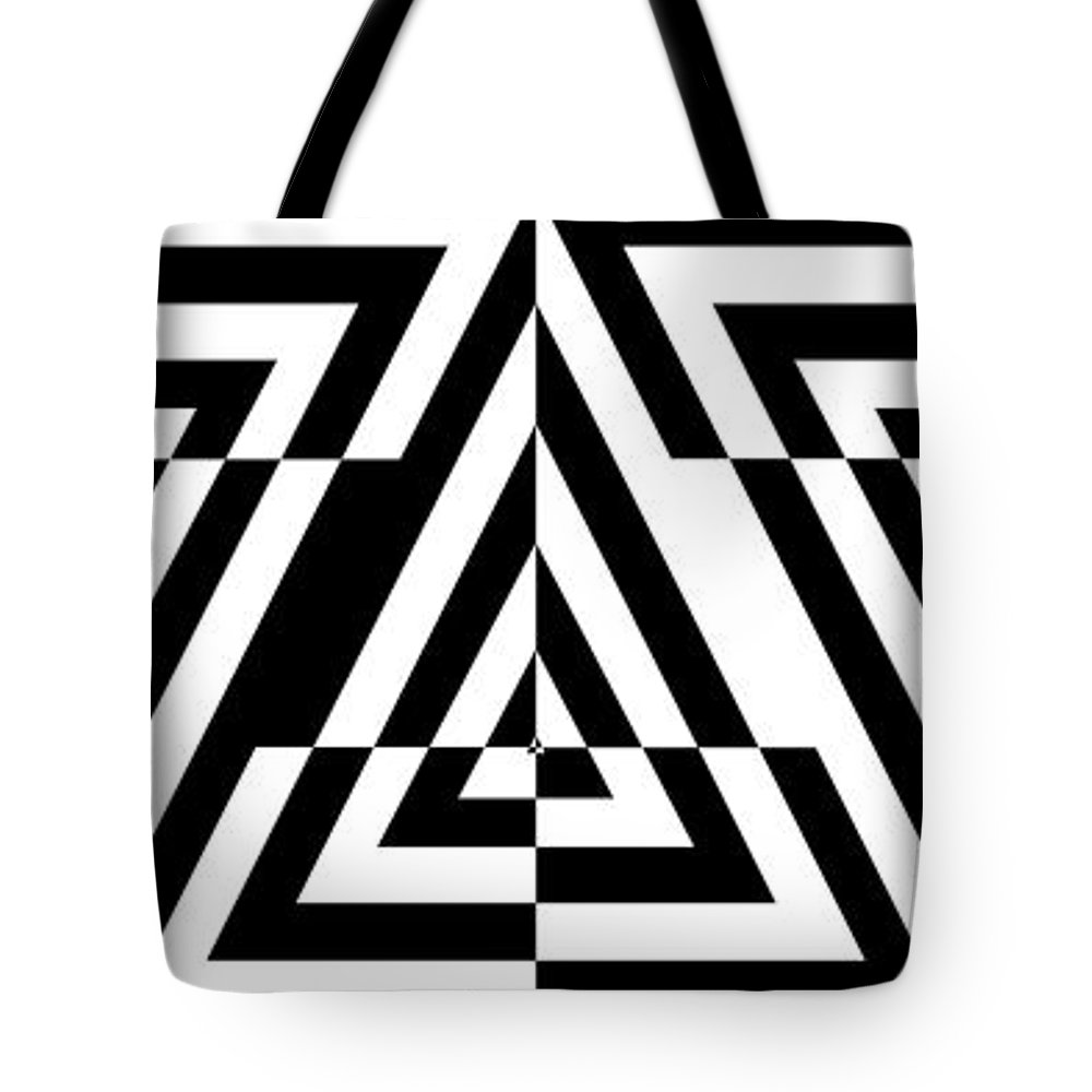 Abstract Panoramic Tote Bag featuring the digital art Mind Games 21 Panoramic by Mike McGlothlen
