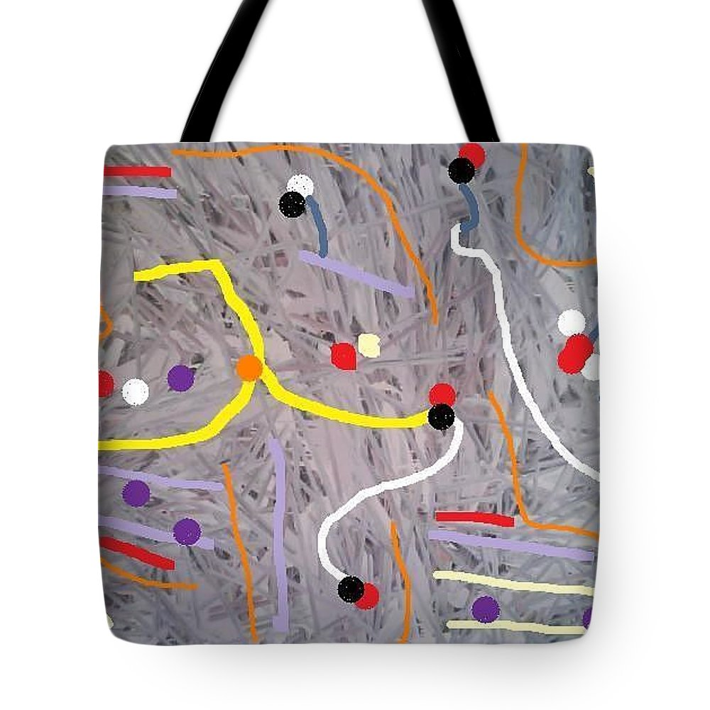 Abstract Tote Bag featuring the digital art Mind Ny by Fatiha Boudar