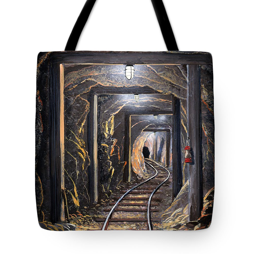 Mural Tote Bag featuring the painting Mine Shaft Mural by Frank Wilson
