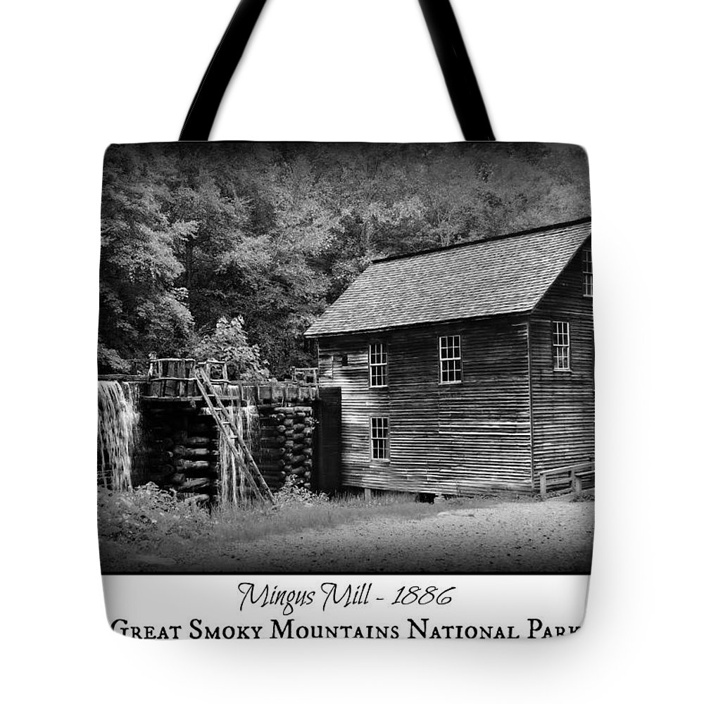 Mingus Mill Tote Bag featuring the photograph Mingus Mill -- Black And White Poster by Stephen Stookey