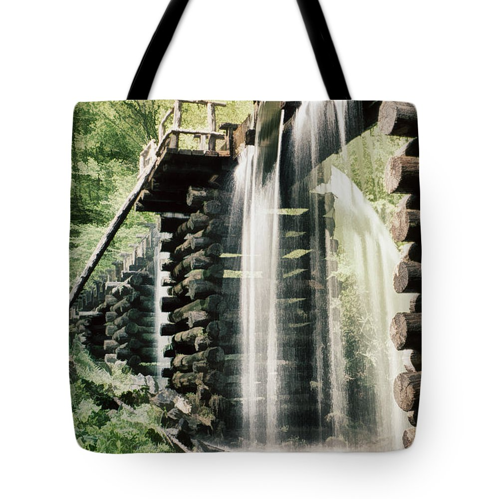 Mingus Mill Tote Bag featuring the photograph Mingus Mill Millrace by Priscilla Burgers