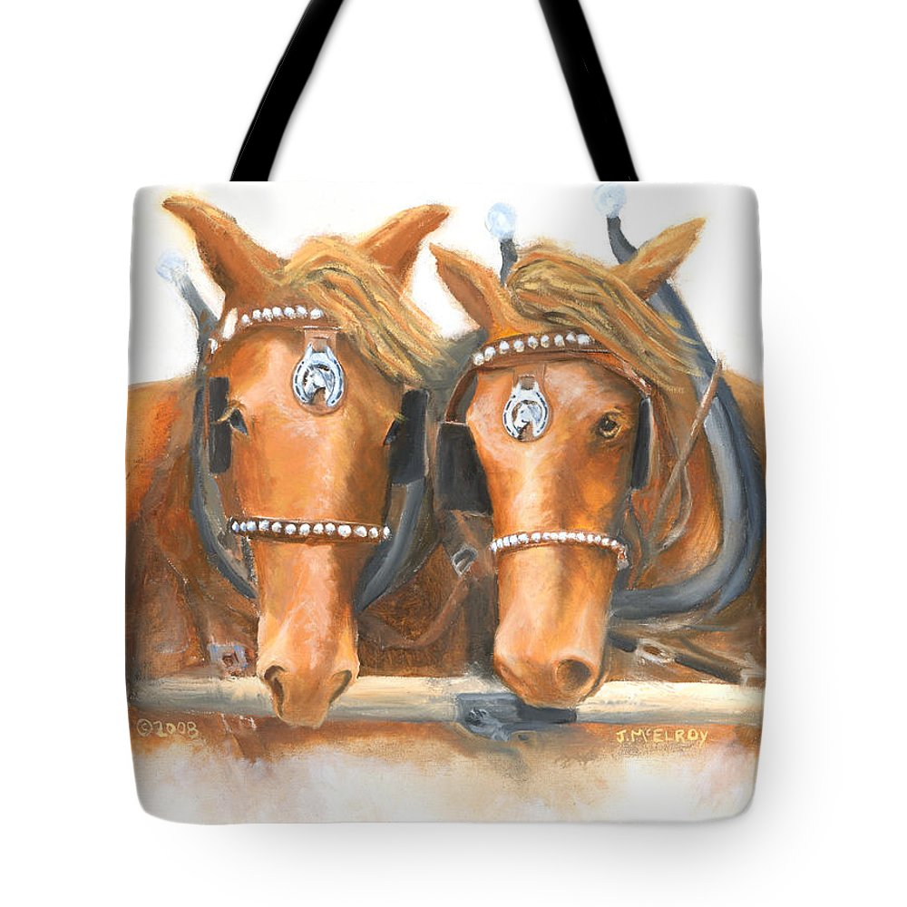 Horse Tote Bag featuring the painting Mini And Jake by Jerry McElroy