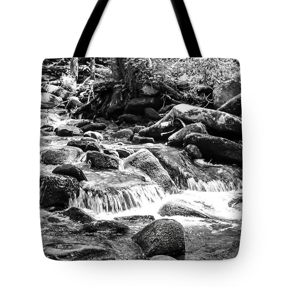 Mini Cascades Tote Bag featuring the photograph Mini Cascades Smoky Mountains Bw by Cynthia Woods