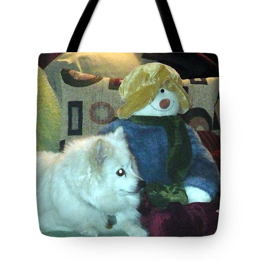 Christmas Tote Bag featuring the photograph Miniature American Eskimo And Snowman by Nicki Bennett