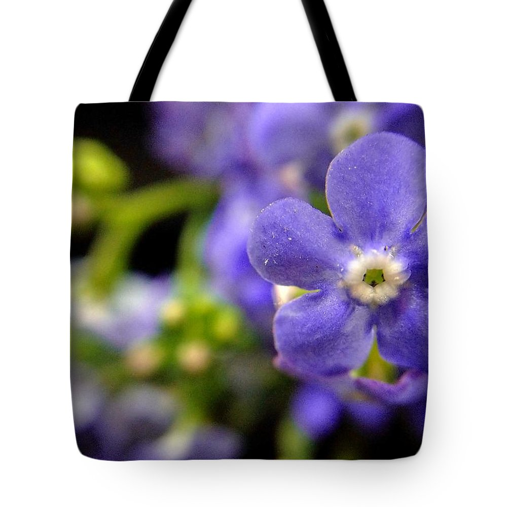 Blue Flower Tote Bag featuring the photograph Miniature Muse by Susan Maxwell Schmidt