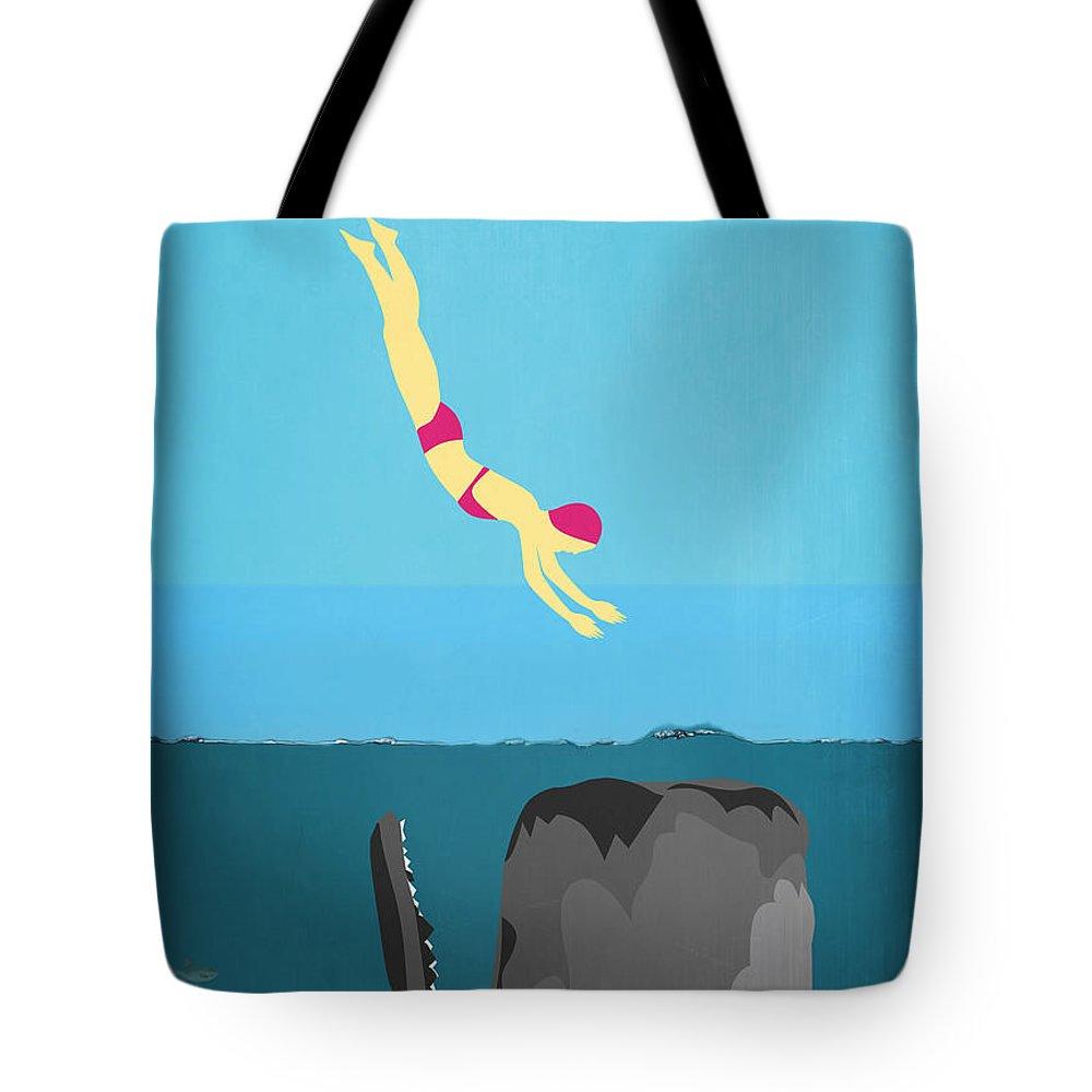 Minimal Tote Bag featuring the digital art Minimal Sea Life by Mark Ashkenazi