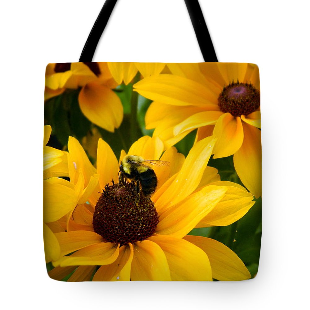 Bee Tote Bag featuring the photograph Mining Gold by Kathy Barney
