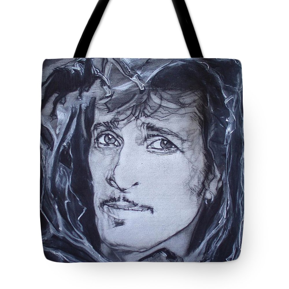 Charcoal;mink Deville;new York City;gina Lollabrigida Eyes ;cat Eyes;bullfight;toreador;swords;death;smoke;blues Tote Bag featuring the drawing Willy Deville - Coup De Grace by Sean Connolly