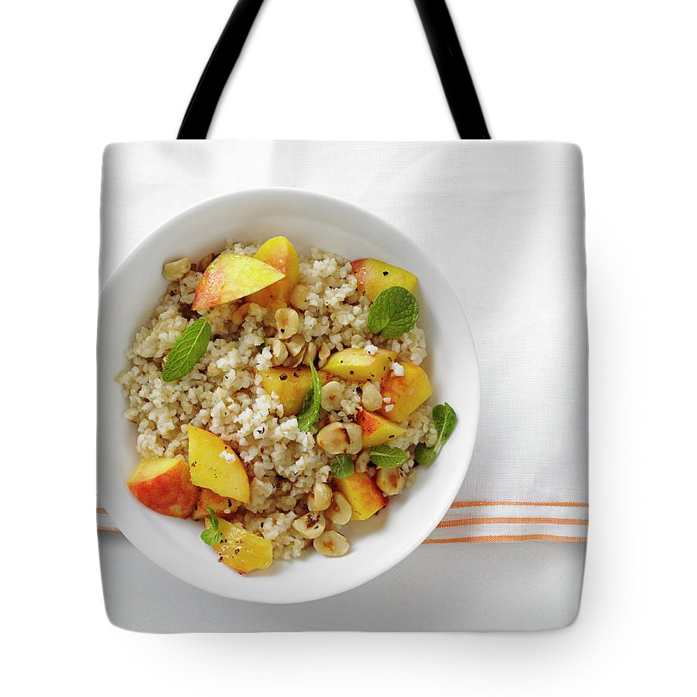 Temptation Tote Bag featuring the photograph Minted Bulgur And Peach Salad by Iain Bagwell
