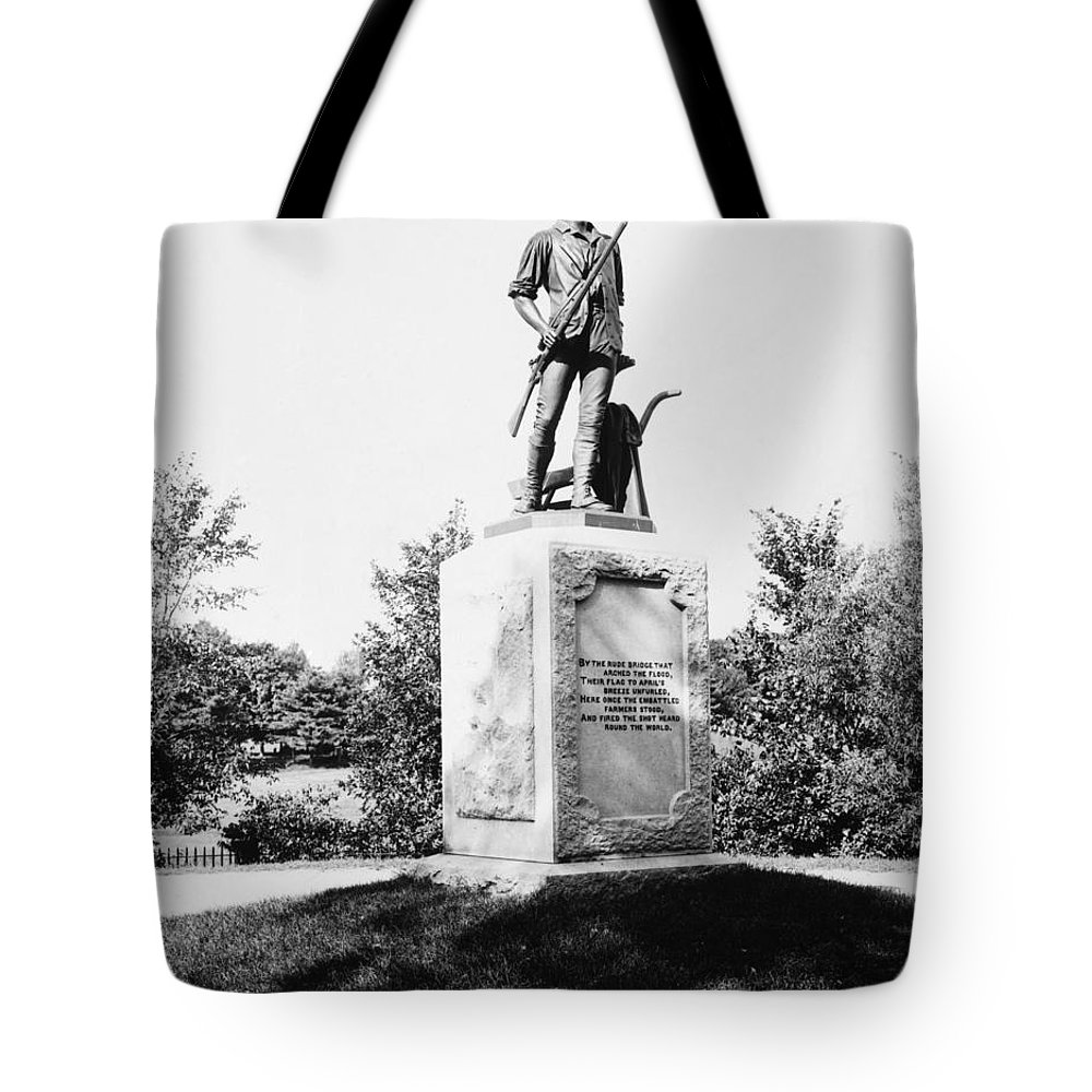 1876 Tote Bag featuring the photograph Minuteman Statue by Granger