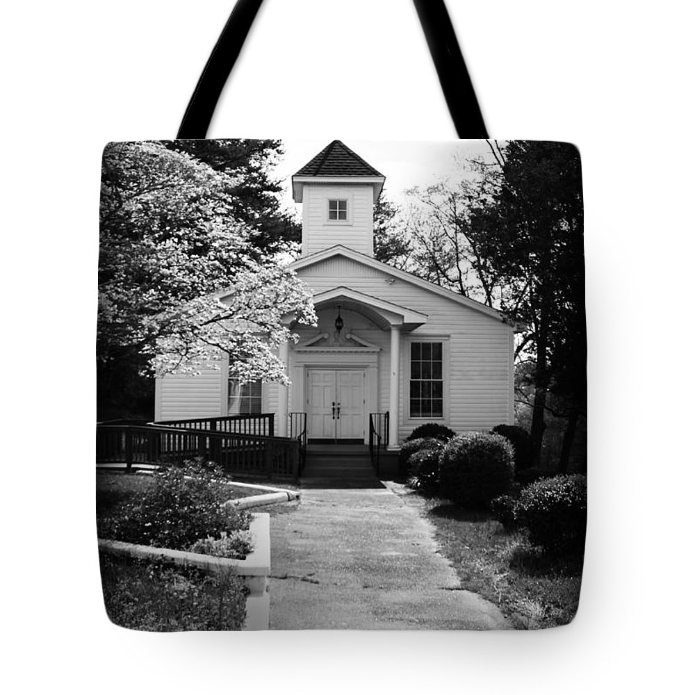 Kelly Hazel Tote Bag featuring the photograph Miracle Hill Church by Kelly Hazel