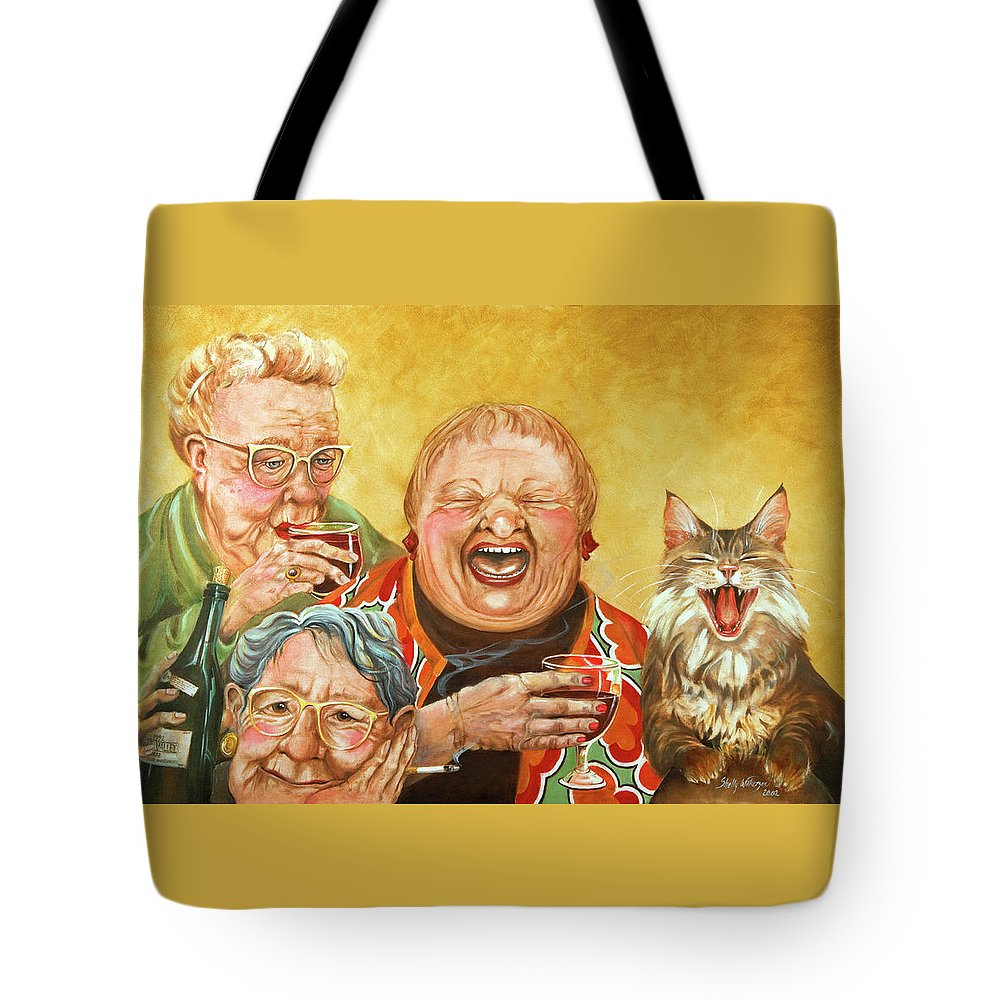 Whimsical Tote Bag featuring the painting Miriam's Tea Party by Shelly Wilkerson