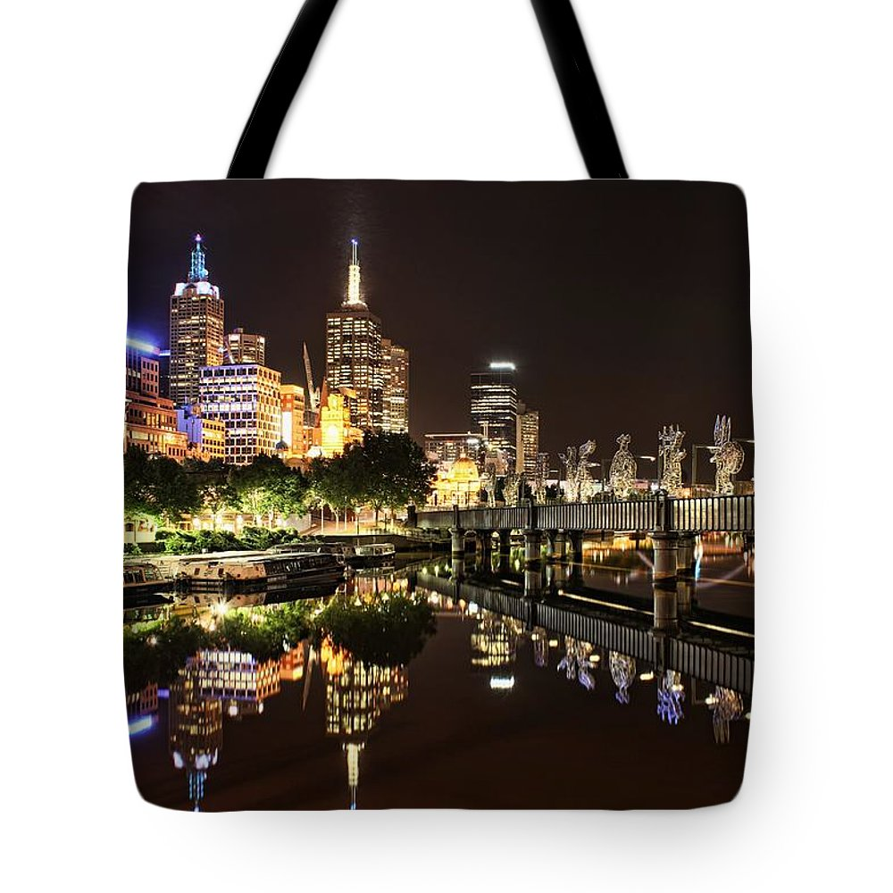 Melbourne Tote Bag featuring the photograph Mirror Image by Andrew Paranavitana