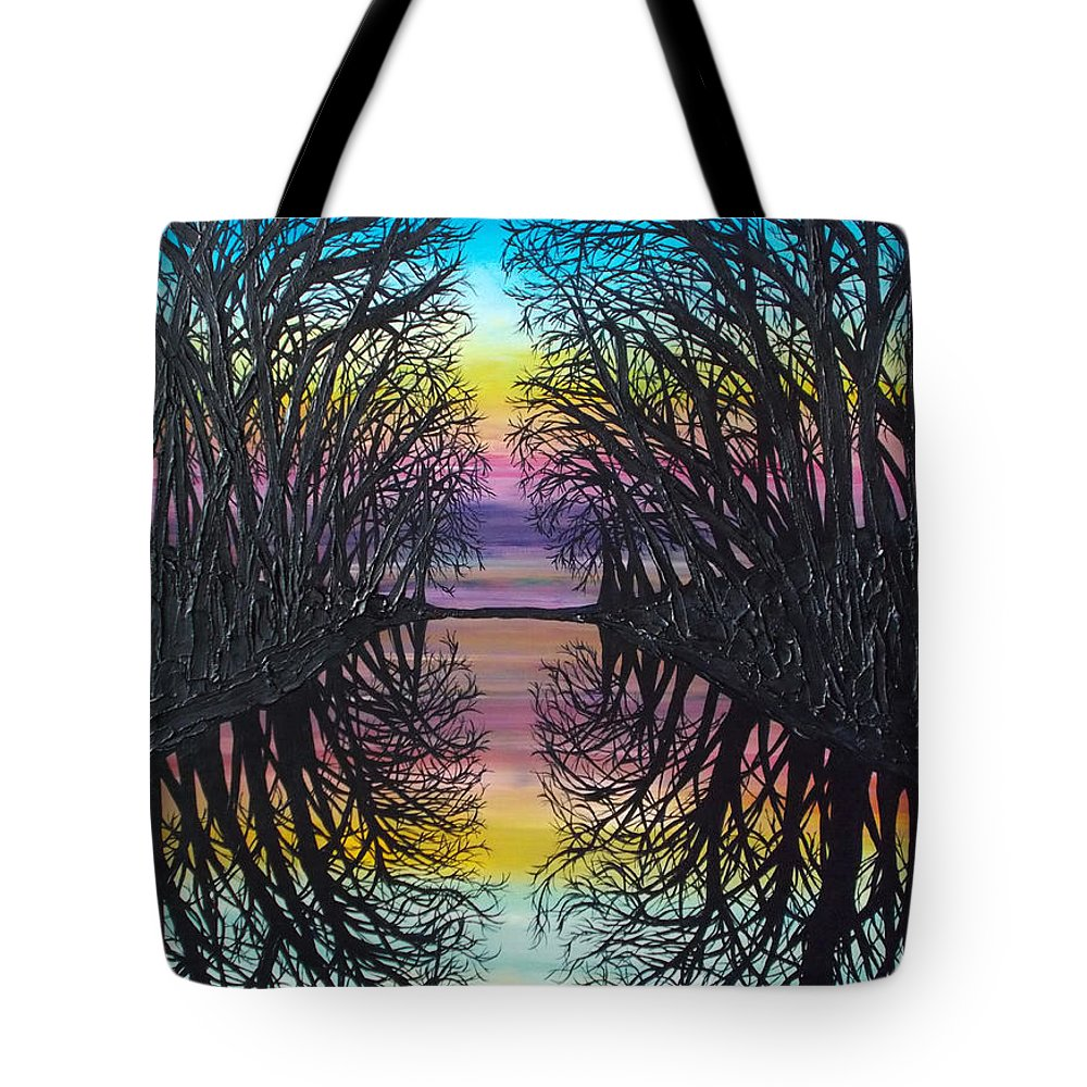 Reflective Trees Tote Bag featuring the painting Mirror Water by Tracy Levesque