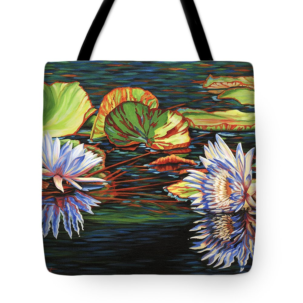Lily Lilies Water Pond Pad Flower Flowers Floral Lake Tote Bag featuring the painting Mirrored Lilies by Jane Girardot