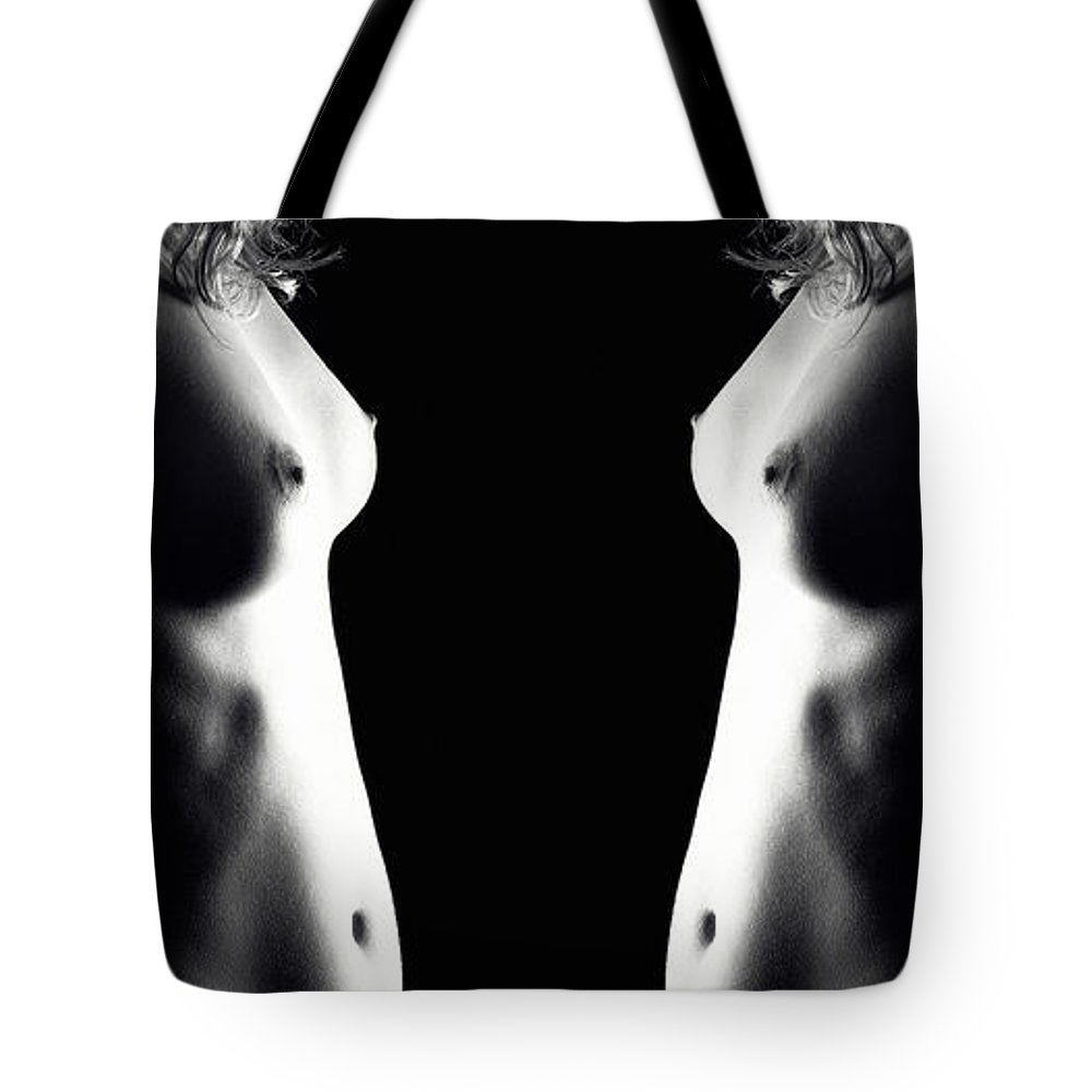 Woman Tote Bag featuring the photograph Mirrored Nude Vertorama 4 by Jochen Schoenfeld