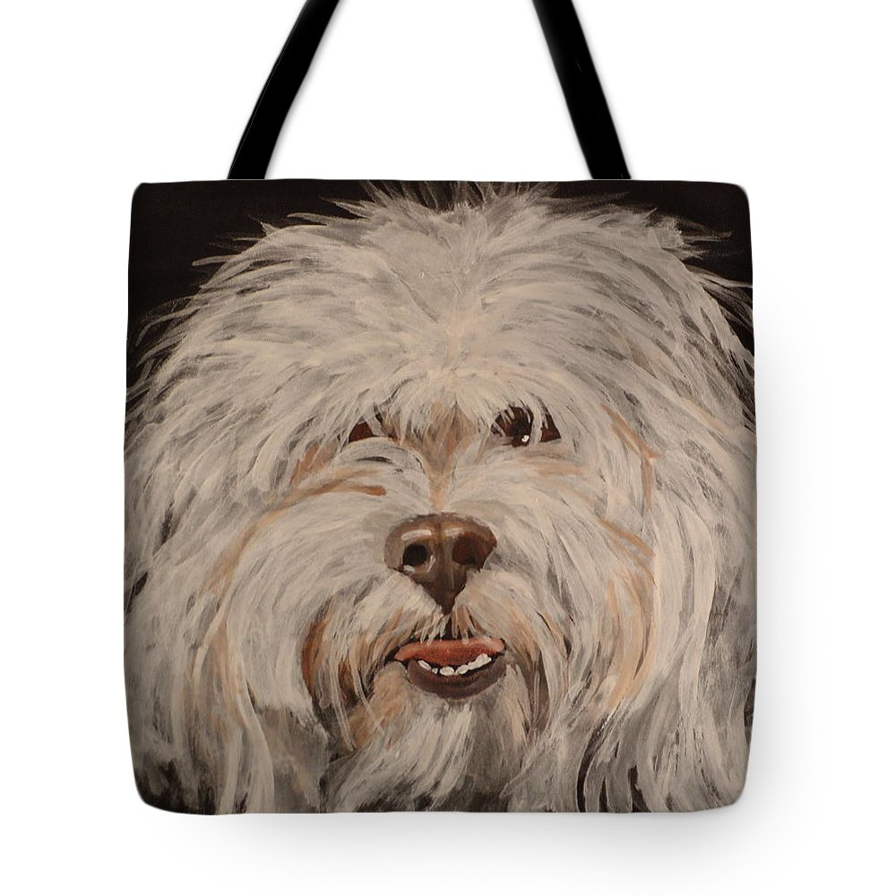Lhasa Apso Portrait Tote Bag featuring the painting Misltetoe 2 by Carol Russell