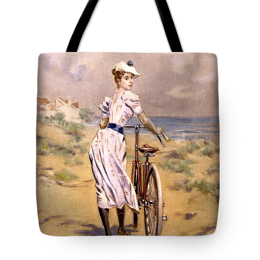 Miss Tote Bag featuring the photograph Miss Bicycle 1894 by Bill Cannon