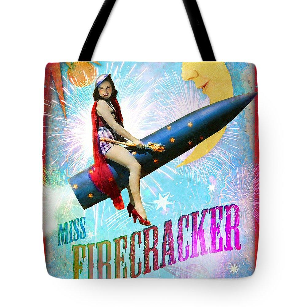 Aimee Stewart Tote Bag featuring the digital art Miss Fire Cracker by Aimee Stewart