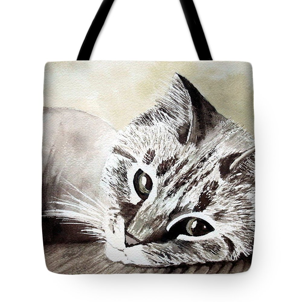 Cat Tote Bag featuring the painting Miss Lilly by Rebecca Zdybel