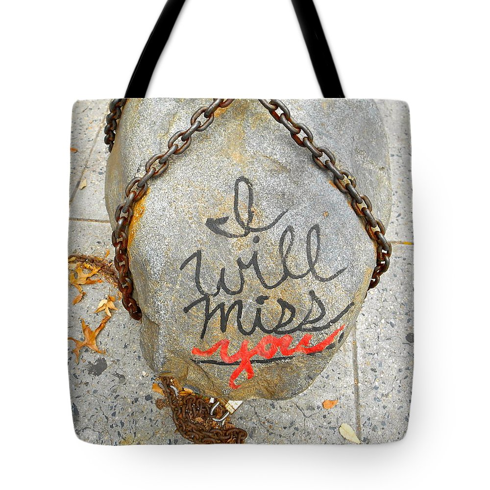New York Street Art Tote Bag featuring the photograph Missing You by Joan Reese