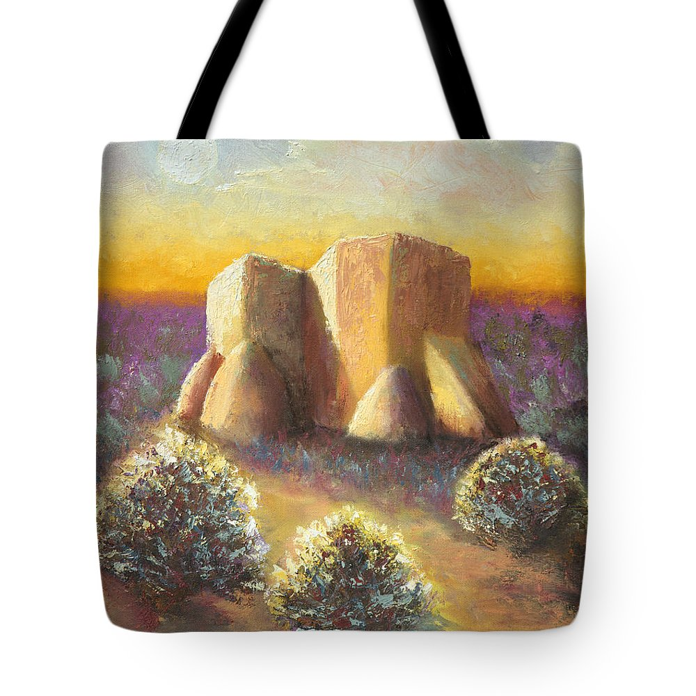 Landscape Tote Bag featuring the painting Mission Imagined by Jerry McElroy