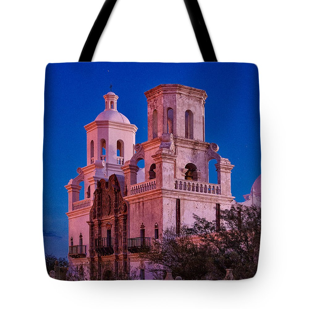 San Xavier Tote Bag featuring the photograph Mission Moon Glow by Larry White