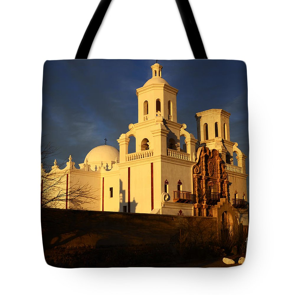 San Xavier Del Bac Mission Tote Bag featuring the photograph Mission San Xavier Del Bac Last Light by Bob Christopher