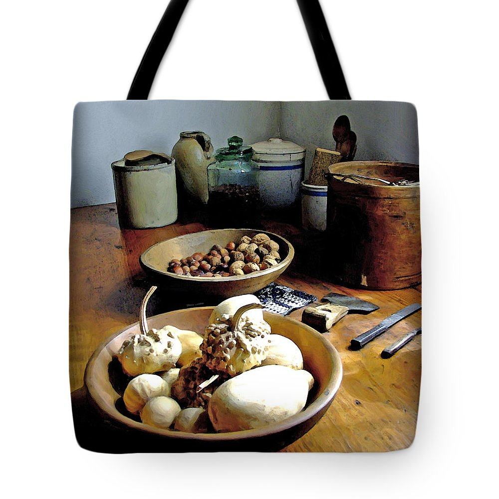 Pioneer Kitchen Tote Bag featuring the digital art Mission Still In Color by Gary Olsen-Hasek