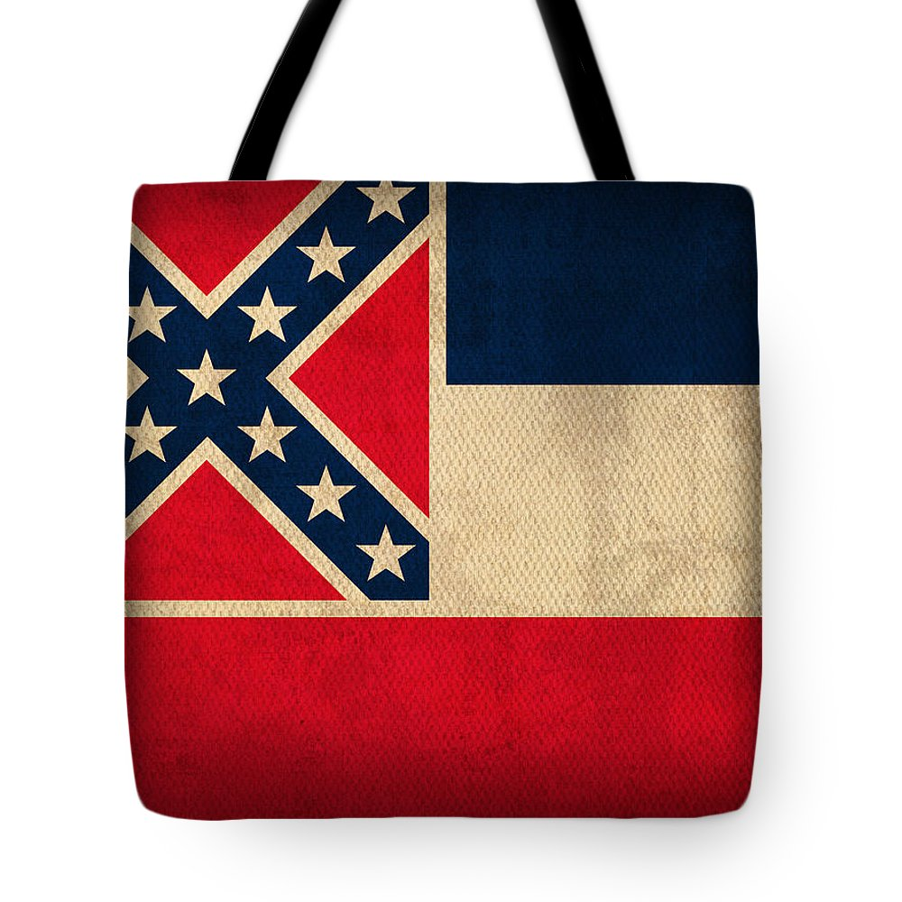 Mississippi State Flag Art On Worn Canvas Tote Bag featuring the mixed media Mississippi State Flag Art On Worn Canvas by Design Turnpike