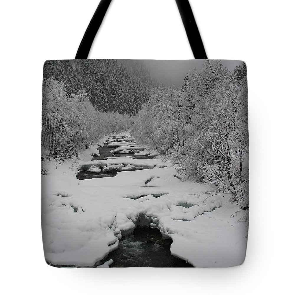 Creek Tote Bag featuring the photograph Mist Above The Creek by Christiane Schulze Art And Photography