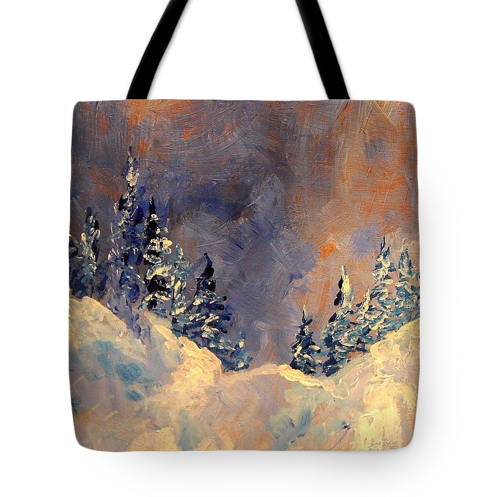 Winter Tote Bag featuring the painting Mist On The Snow Peak by Patricia Brintle