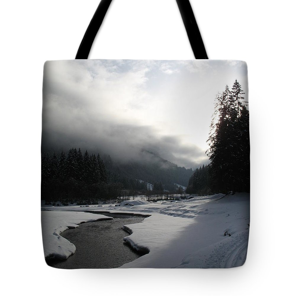 Valley Tote Bag featuring the photograph Mist Over A Snowy Valley by Christiane Schulze Art And Photography