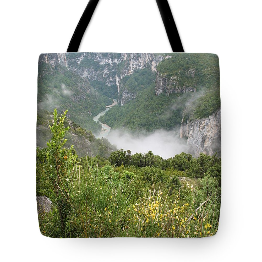Canyon Tote Bag featuring the photograph Mist Over Grand Canyon Du Verdon by Christiane Schulze Art And Photography