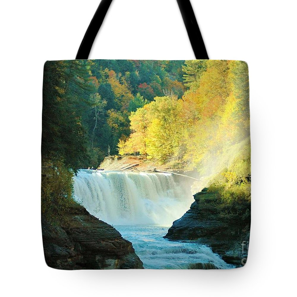 Letchworth Tote Bag featuring the photograph Misty 2 by Kathleen Struckle