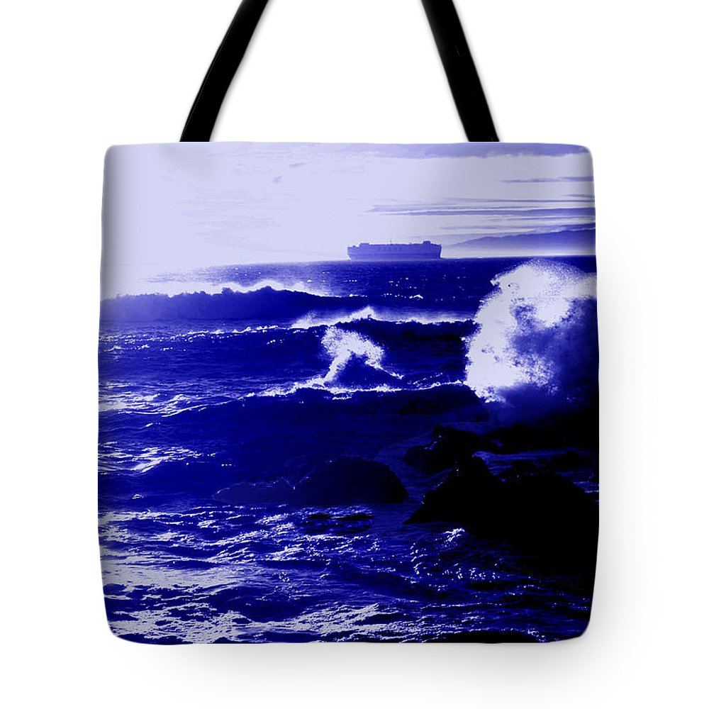Beach Tote Bag featuring the photograph Misty Blue by Stephen Edwards