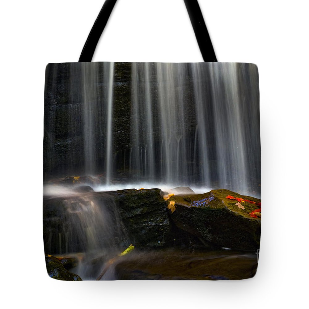 Ricketts Glen Tote Bag featuring the photograph Misty Falls by Paul W Faust - Impressions of Light
