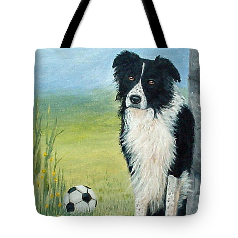 Border Collie Tote Bag featuring the painting Misty by Fran Brooks