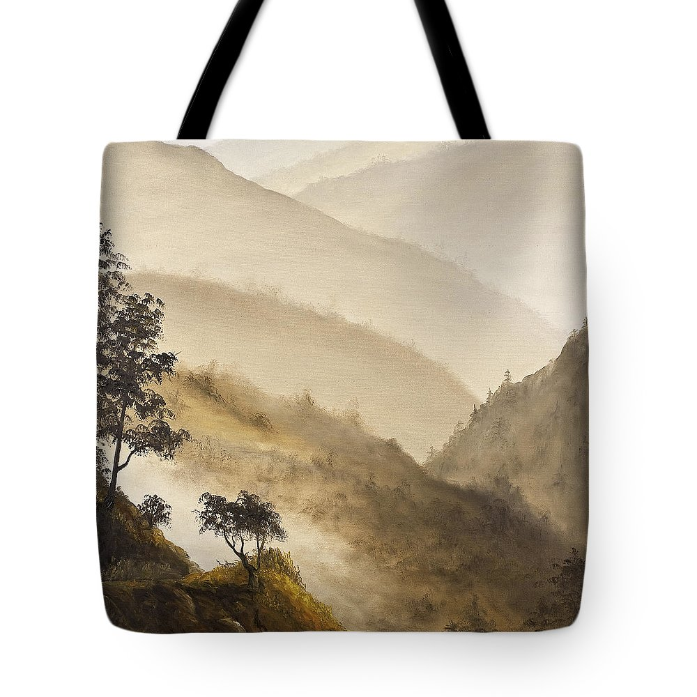 Landscape Tote Bag featuring the painting Misty Hills by Darice Machel McGuire