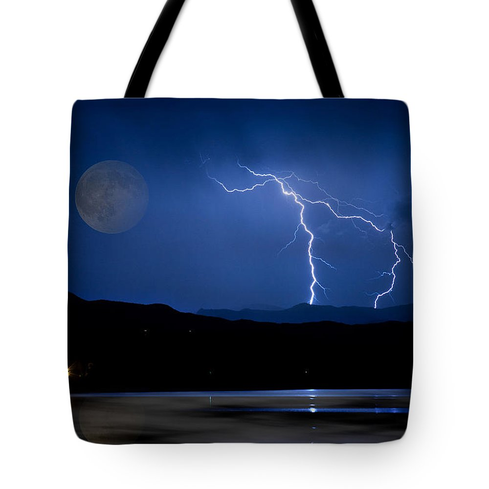 Landscape Tote Bag featuring the photograph Misty Lake Full Moon Lightning Storm Fine Art Photo by James BO Insogna