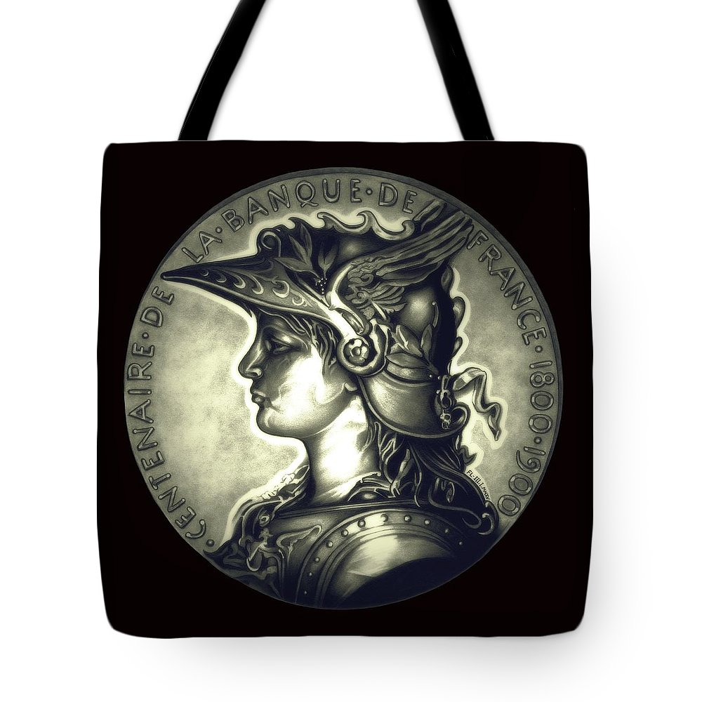 Coin Tote Bag featuring the drawing Misty Midnight Black Marianne by Fred Larucci