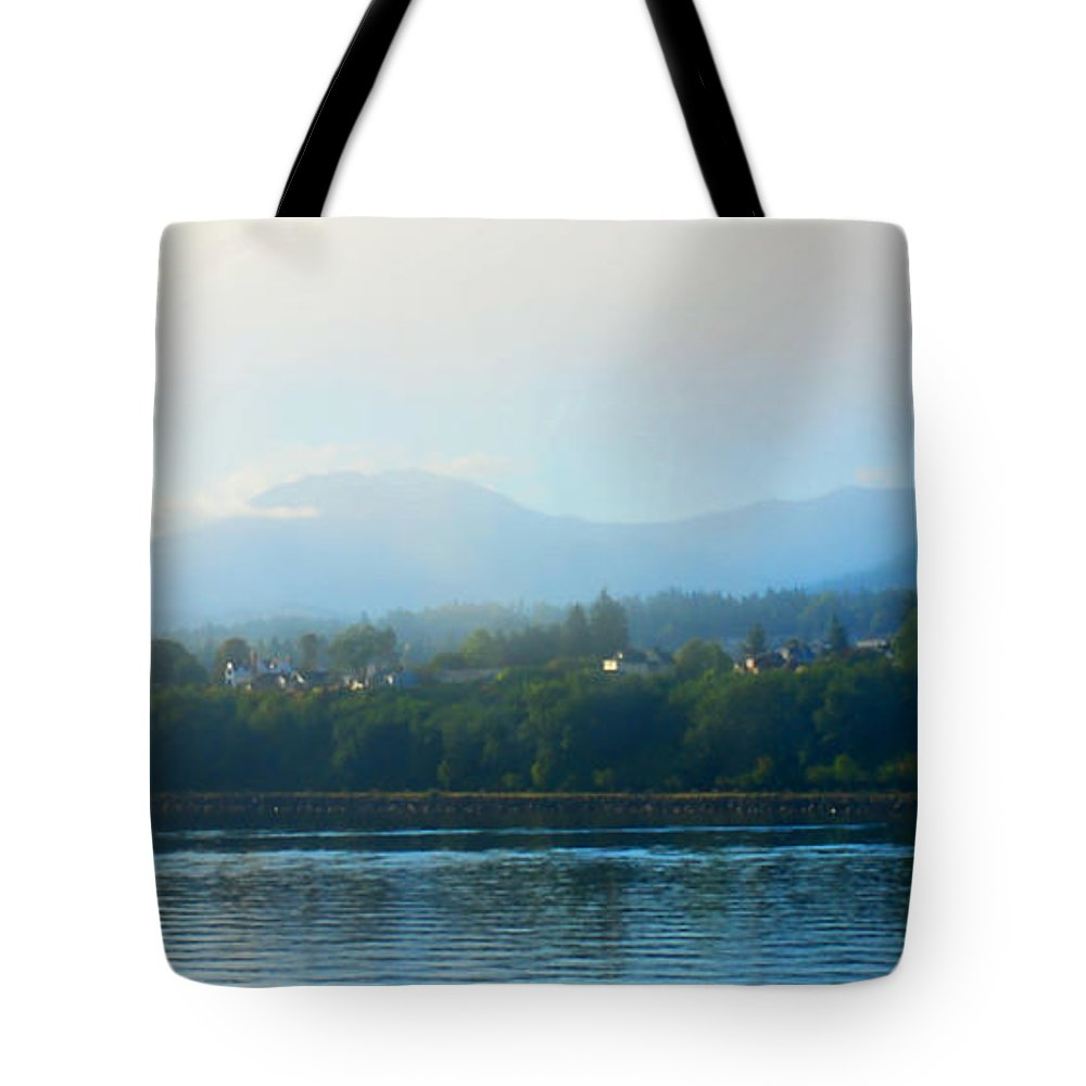 Sunrise Tote Bag featuring the photograph Misty Morning In Port Angeles by Connie Fox