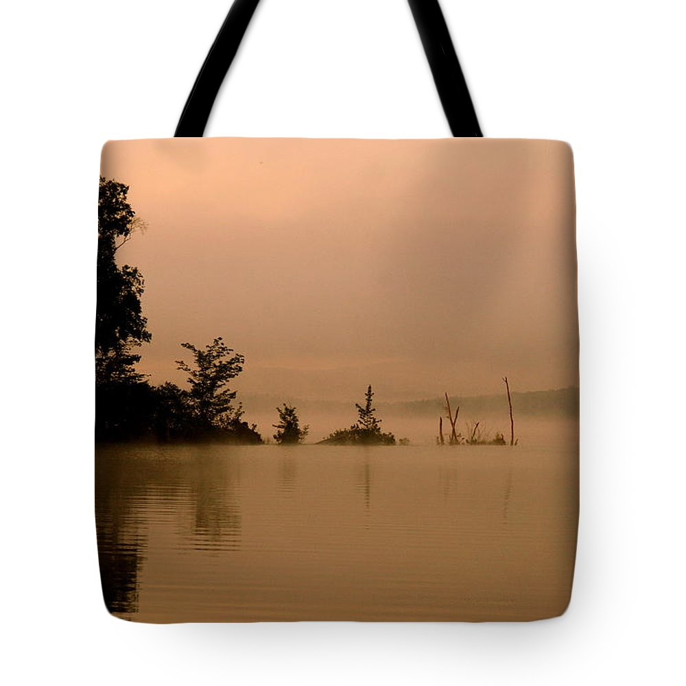 Lake Tote Bag featuring the photograph Misty Morning Solitude by Neal Eslinger