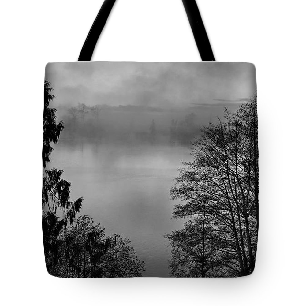 America Tote Bag featuring the photograph Misty Morning Sunrise Black And White Art Prints by Valerie Garner